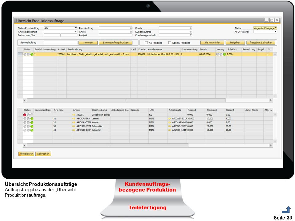 """Seite 33 Übersicht Produktionsaufträge Auftragsfreigabe aus der """"Übersicht Produktionsaufträge. Kundenauftrags- bezogene Produktion Teilefertigung"""