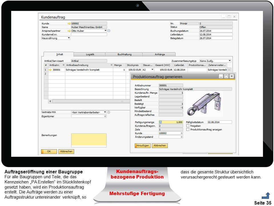 Seite 35 Kundenauftrags- bezogene Produktion Mehrstufige Fertigung Auftragseröffnung einer Baugruppe Für alle Baugruppen und Teile, die das Kennzeiche