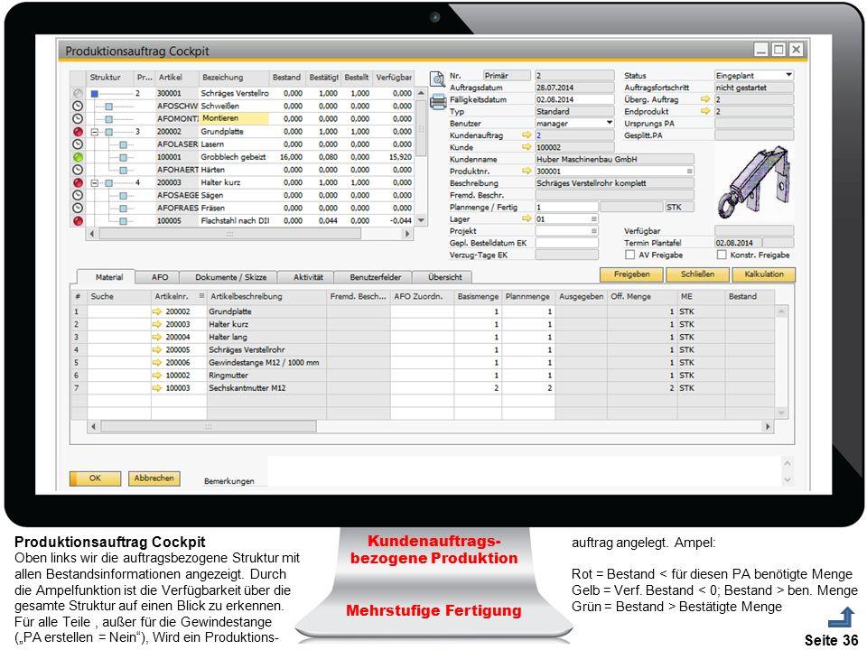 Seite 36 Kundenauftrags- bezogene Produktion Mehrstufige Fertigung Produktionsauftrag Cockpit Oben links wir die auftragsbezogene Struktur mit allen B