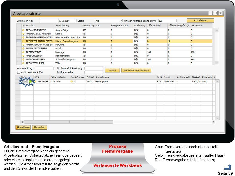 Seite 39 Prozess Fremdvergabe Verlängerte Werkbank Arbeitsvorrat - Fremdvergabe Für die Fremdvergabe kann ein genereller Arbeitsplatz, ein Arbeitsplat