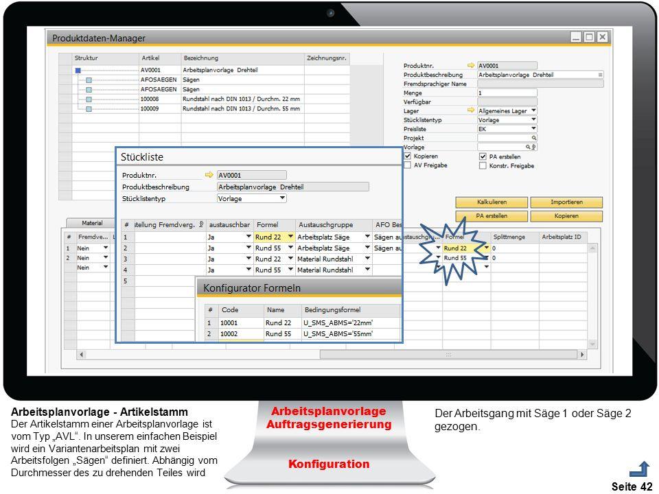Seite 42 Arbeitsplanvorlage Auftragsgenerierung Konfiguration Arbeitsplanvorlage - Artikelstamm Der Artikelstamm einer Arbeitsplanvorlage ist vom Typ