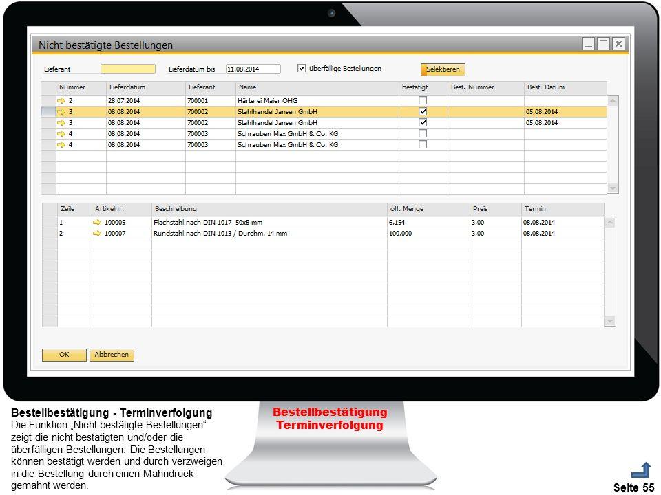 """Seite 55 Bestellbestätigung Terminverfolgung Bestellbestätigung - Terminverfolgung Die Funktion """"Nicht bestätigte Bestellungen"""" zeigt die nicht bestät"""