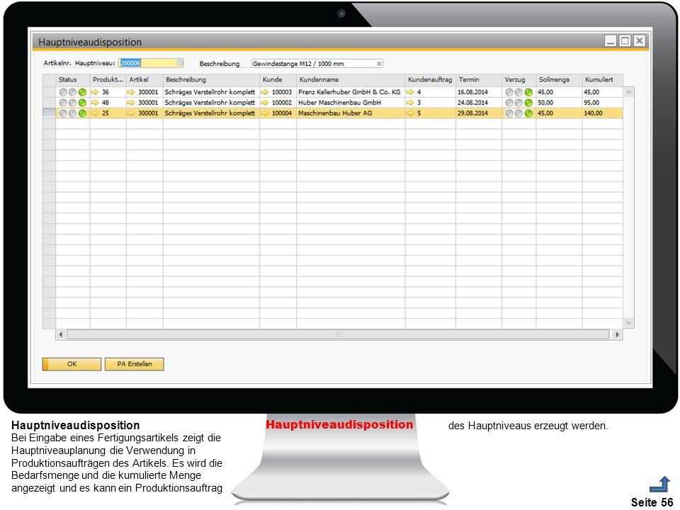 Seite 56 Hauptniveaudisposition Bei Eingabe eines Fertigungsartikels zeigt die Hauptniveauplanung die Verwendung in Produktionsaufträgen des Artikels.