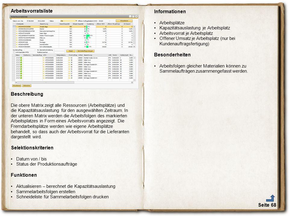 Seite 68 Arbeitsvorratsliste Beschreibung Die obere Matrix zeigt alle Ressourcen (Arbeitsplätze) und die Kapazitätsauslastung für den ausgewählten Zei
