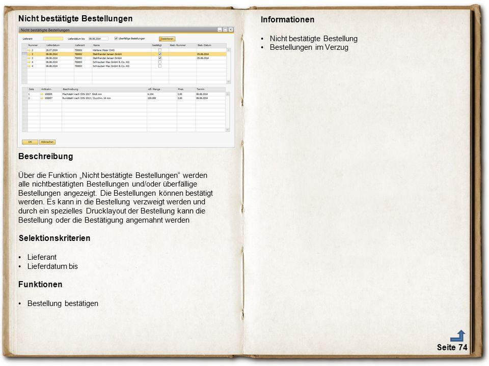 """Seite 74 Nicht bestätigte Bestellungen Beschreibung Über die Funktion """"Nicht bestätigte Bestellungen"""" werden alle nichtbestätigten Bestellungen und/od"""