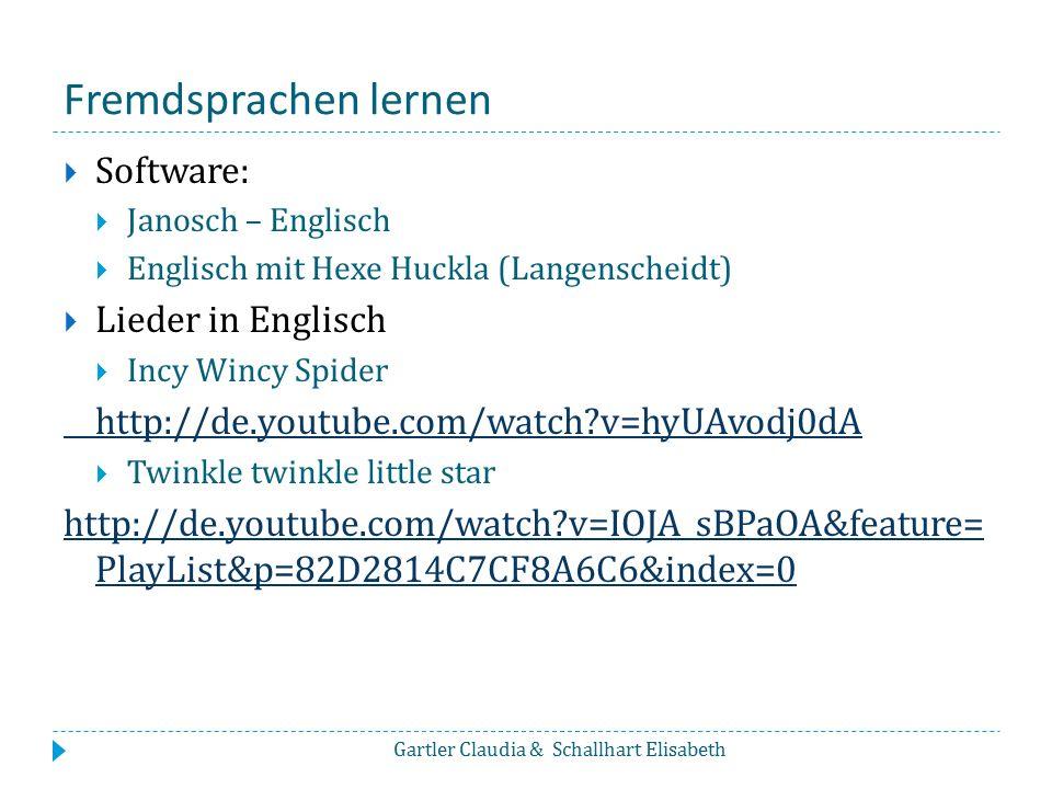 Fremdsprachen lernen  Software:  Janosch – Englisch  Englisch mit Hexe Huckla (Langenscheidt)  Lieder in Englisch  Incy Wincy Spider http://de.yo