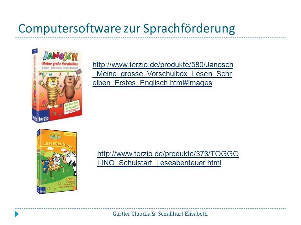 Computersoftware zur Sprachförderung Gartler Claudia & Schallhart Elisabeth http://www.terzio.de/produkte/580/Janosch _Meine_grosse_Vorschulbox_Lesen_