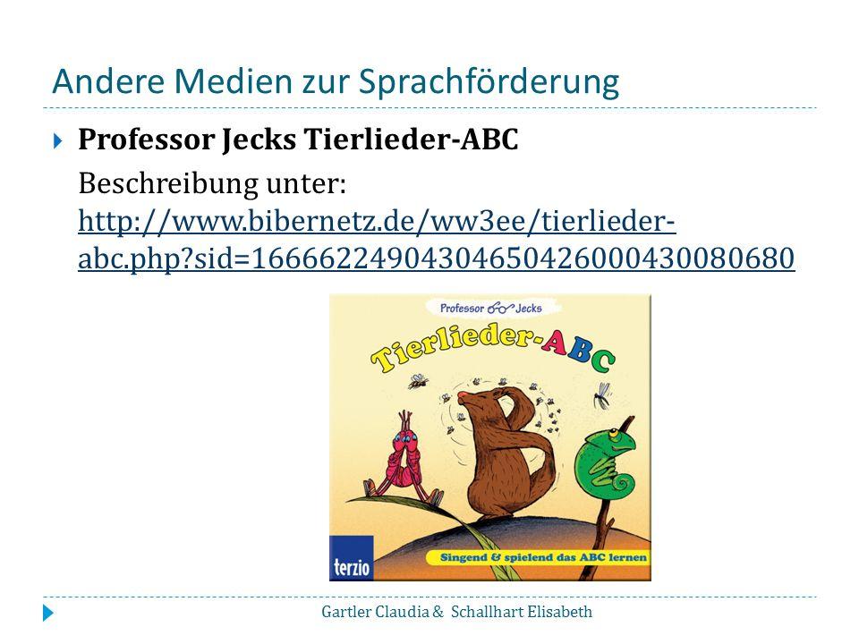 Andere Medien zur Sprachförderung  Professor Jecks Tierlieder-ABC Beschreibung unter: http://www.bibernetz.de/ww3ee/tierlieder- abc.php?sid=166662249