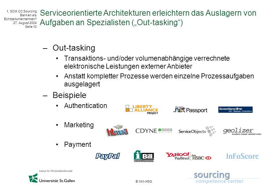 © IWI-HSG 1. SCM CC Sourcing Banken als Echtzeitunternehmen? 27. August 2004 Seite 10 Serviceorientierte Architekturen erleichtern das Auslagern von A