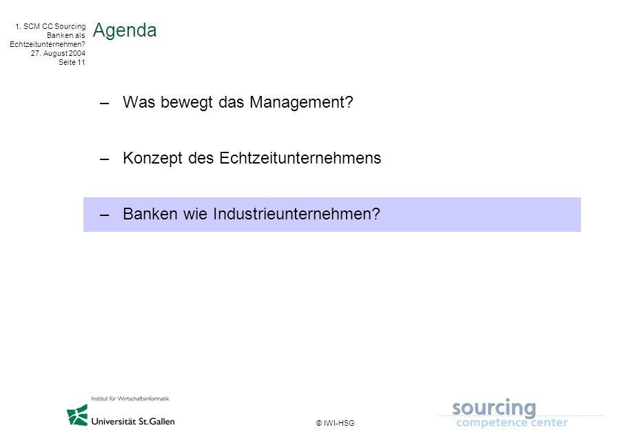 © IWI-HSG 1. SCM CC Sourcing Banken als Echtzeitunternehmen? 27. August 2004 Seite 11 Agenda –Was bewegt das Management? –Konzept des Echtzeitunterneh
