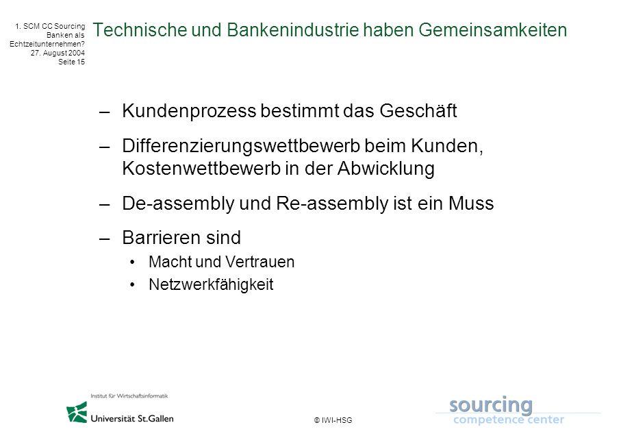© IWI-HSG 1. SCM CC Sourcing Banken als Echtzeitunternehmen? 27. August 2004 Seite 15 Technische und Bankenindustrie haben Gemeinsamkeiten –Kundenproz