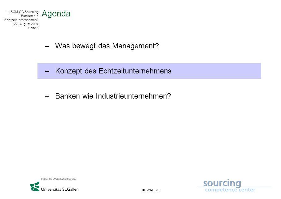 © IWI-HSG 1. SCM CC Sourcing Banken als Echtzeitunternehmen? 27. August 2004 Seite 5 Agenda –Was bewegt das Management? –Konzept des Echtzeitunternehm