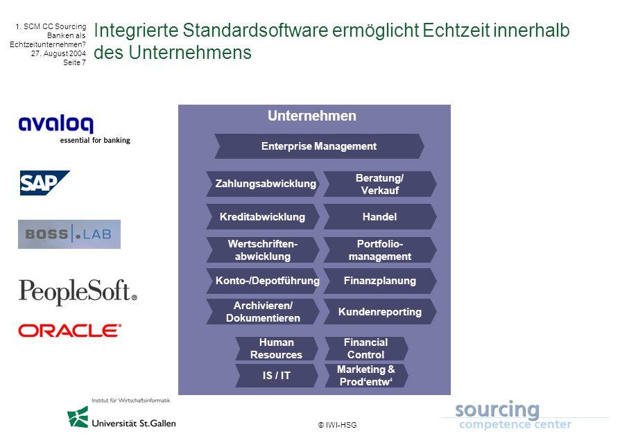 © IWI-HSG 1. SCM CC Sourcing Banken als Echtzeitunternehmen? 27. August 2004 Seite 7 Integrierte Standardsoftware ermöglicht Echtzeit innerhalb des Un