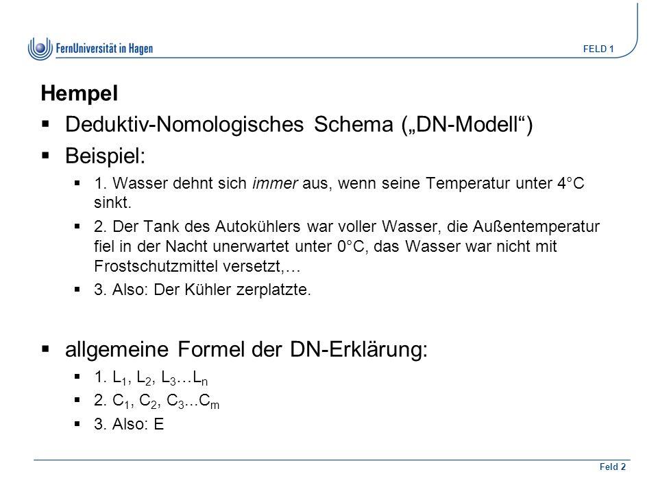 """FELD 1 Feld 2 Hempel  Deduktiv-Nomologisches Schema (""""DN-Modell )  Beispiel:  1."""