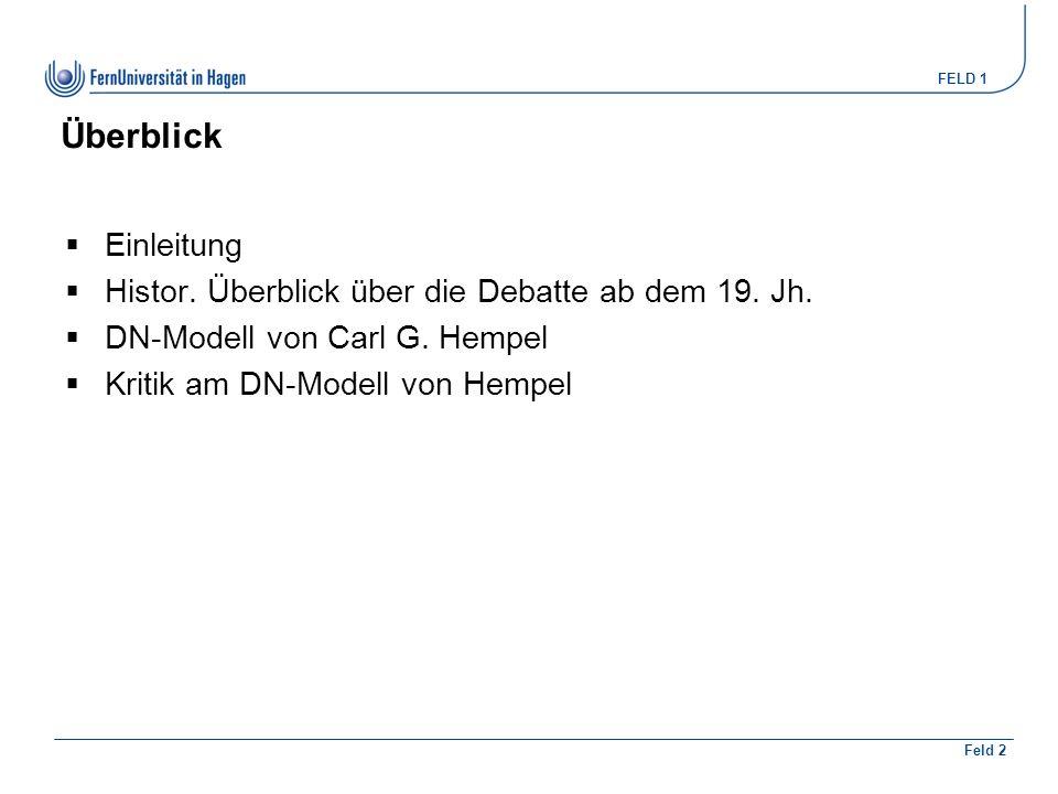 FELD 1 Feld 2 Überblick  Einleitung  Histor. Überblick über die Debatte ab dem 19.