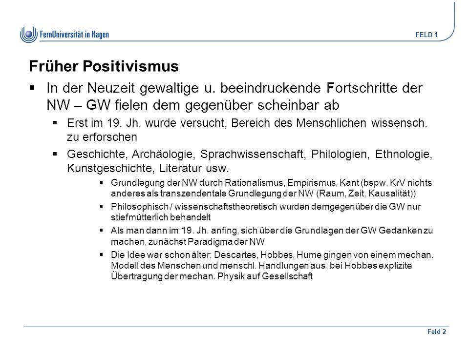 FELD 1 Feld 2 Früher Positivismus  In der Neuzeit gewaltige u.
