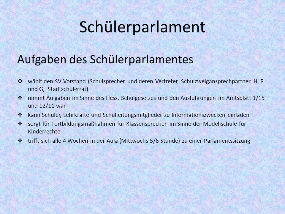 Schülerparlament Aufgaben des Schülerparlamentes  wählt den SV-Vorstand (Schulsprecher und deren Vertreter, Schulzweigansprechpartner H, R und G, Stadtschülerrat)  nimmt Aufgaben im Sinne des Hess.