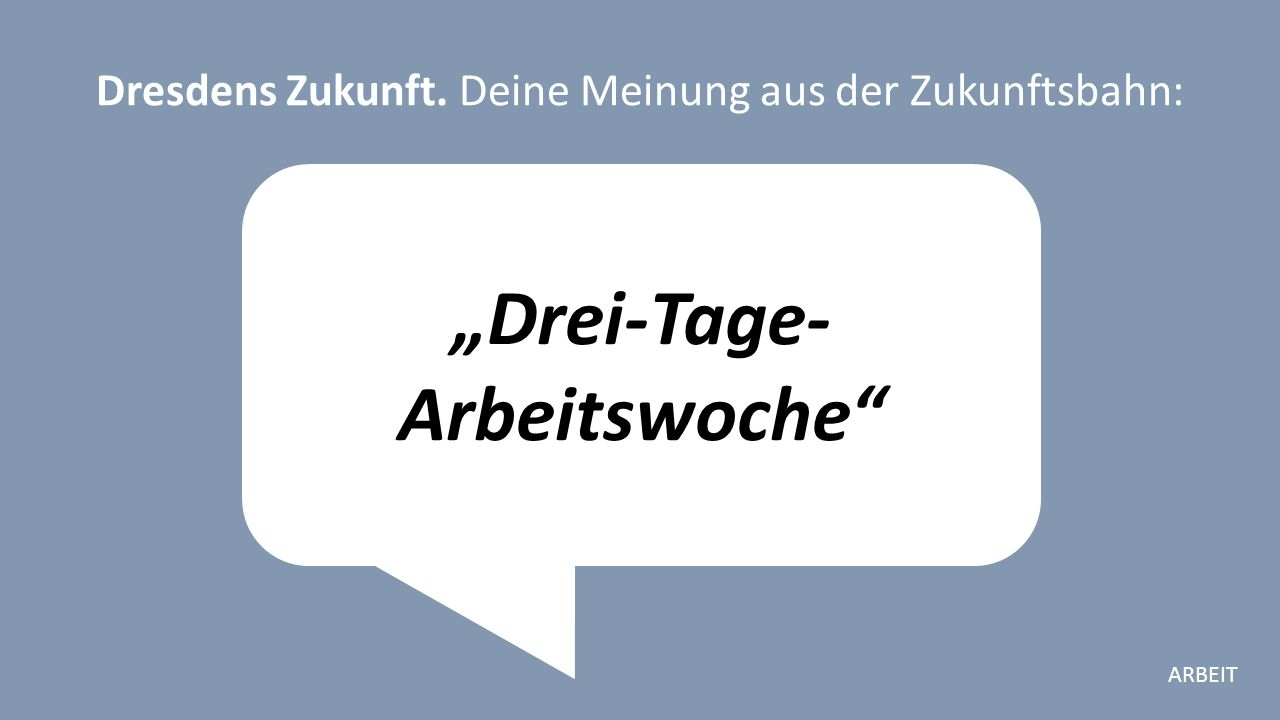 """""""Drei-Tage- Arbeitswoche Dresdens Zukunft. Deine Meinung aus der Zukunftsbahn: ARBEIT"""