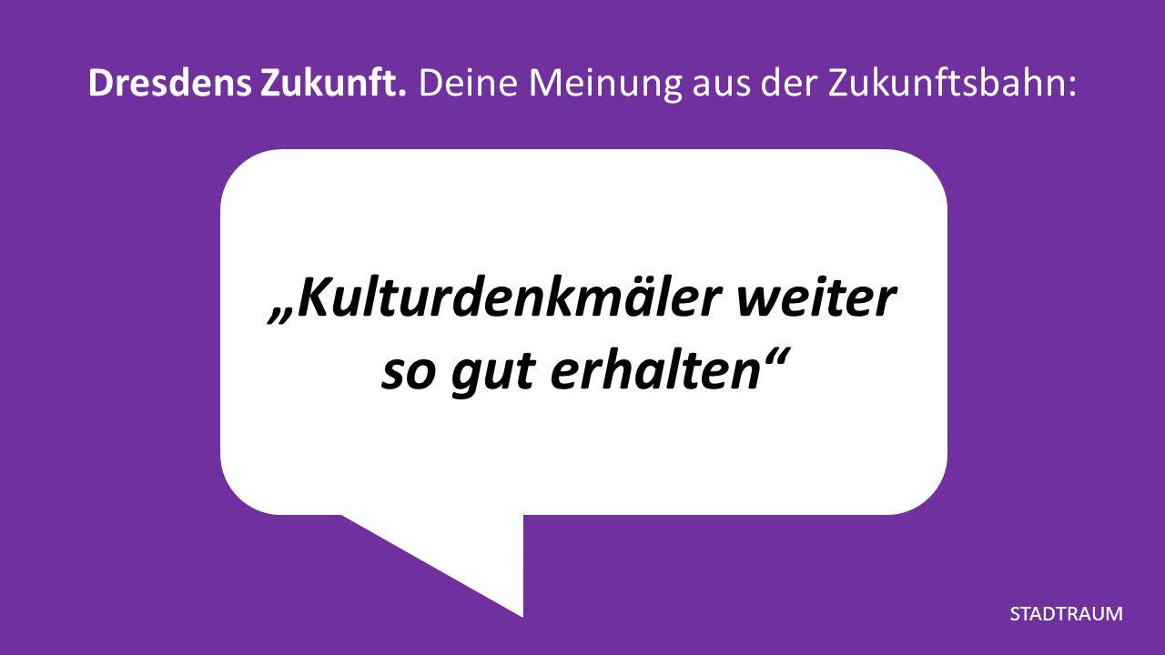 """""""Kulturdenkmäler weiter so gut erhalten Dresdens Zukunft."""
