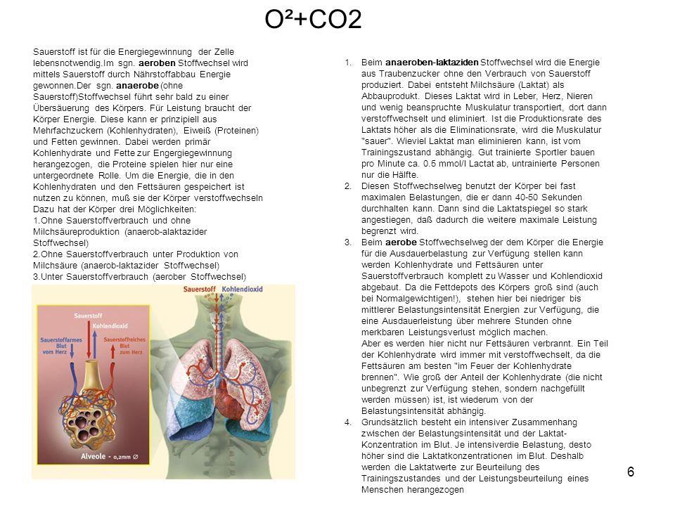 6 O²+CO2 Sauerstoff ist für die Energiegewinnung der Zelle lebensnotwendig.Im sgn.