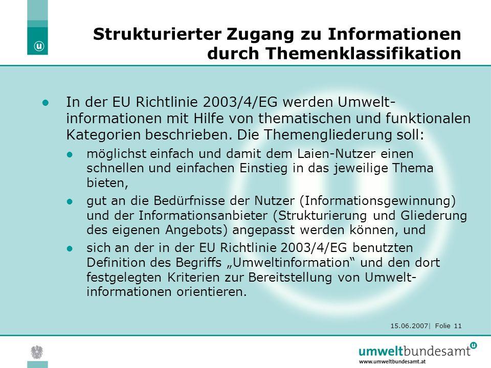 15.06.2007| Folie 11 Strukturierter Zugang zu Informationen durch Themenklassifikation In der EU Richtlinie 2003/4/EG werden Umwelt- informationen mit Hilfe von thematischen und funktionalen Kategorien beschrieben.