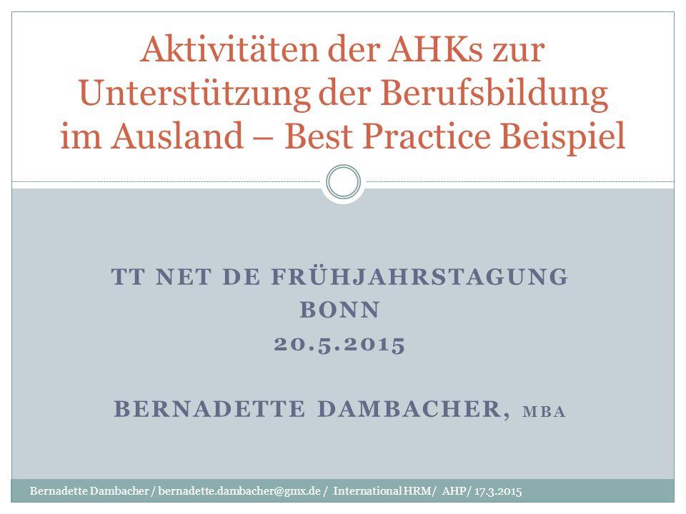 Organisation DIHK, IHKs, AHKs Dachverband DIHK eingetragener Verein mit IHKs als Mitglieder und Fachausschüssen aus der Unternehmerschaft 80 IHKs als eigenverantwortliche öffentlich- rechtliche Körperschaften getragen durch die gesetzliche Mitgliedschaft und Pflichtbeiträge aller Unternehmen in Deutschland 120 AHKs an 90 Standorten auf 5 Kontinenten entstanden innerhalb der letzten 100 Jahre als offizielle Vertretung der deutschen Wirtschaft