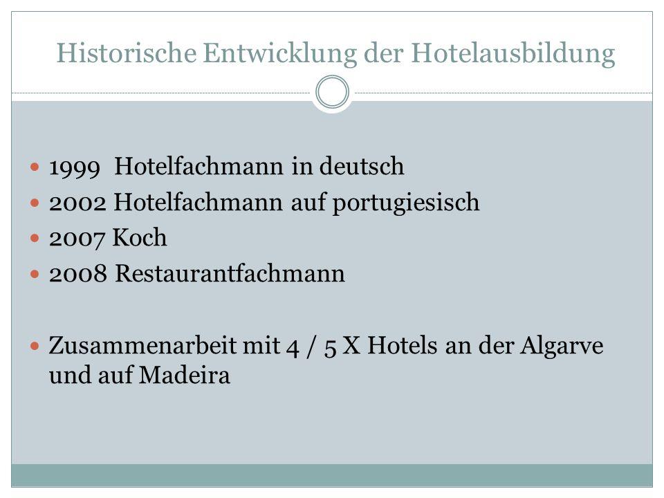 Historische Entwicklung der Hotelausbildung 1999 Hotelfachmann in deutsch 2002 Hotelfachmann auf portugiesisch 2007 Koch 2008 Restaurantfachmann Zusammenarbeit mit 4 / 5 X Hotels an der Algarve und auf Madeira