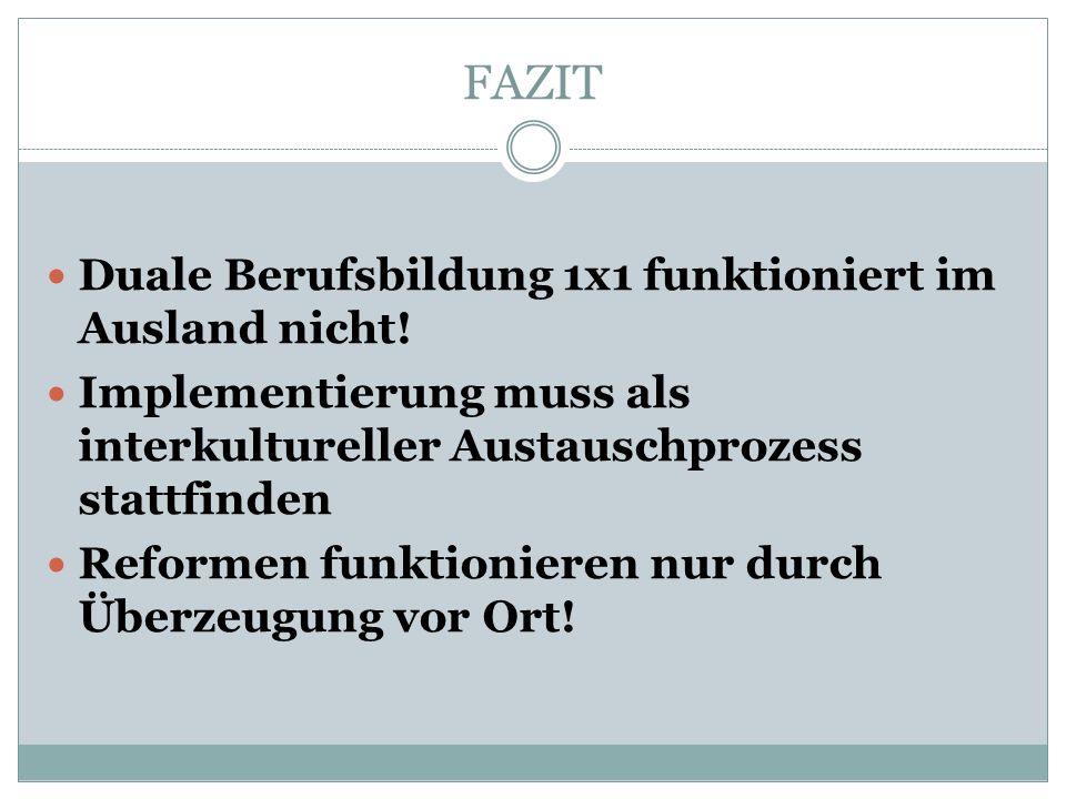 FAZIT Duale Berufsbildung 1x1 funktioniert im Ausland nicht.