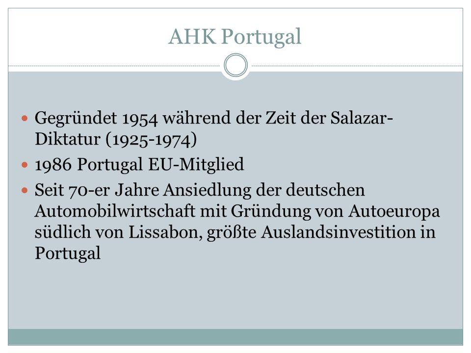 AHK Portugal Gegründet 1954 während der Zeit der Salazar- Diktatur (1925-1974) 1986 Portugal EU-Mitglied Seit 70-er Jahre Ansiedlung der deutschen Automobilwirtschaft mit Gründung von Autoeuropa südlich von Lissabon, größte Auslandsinvestition in Portugal