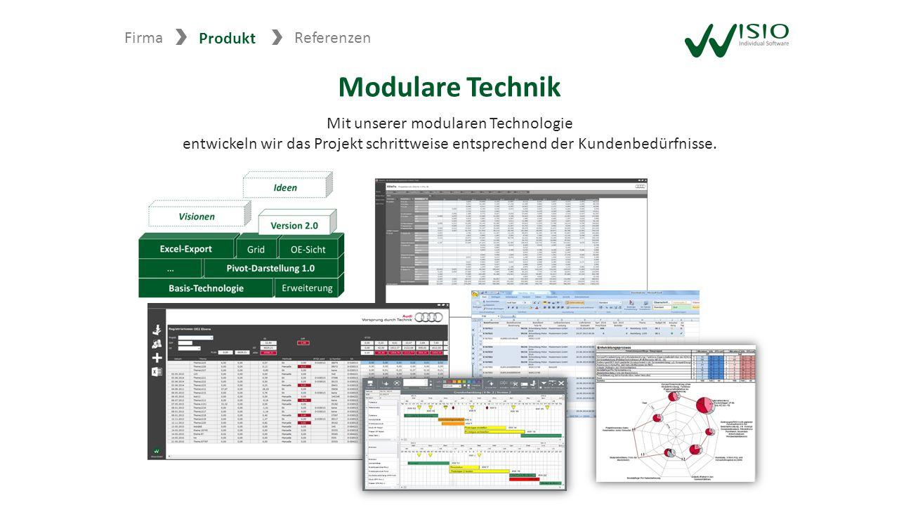 Firma Produkt Referenzen Modulare Technik Mit unserer modularen Technologie entwickeln wir das Projekt schrittweise entsprechend der Kundenbedürfnisse.