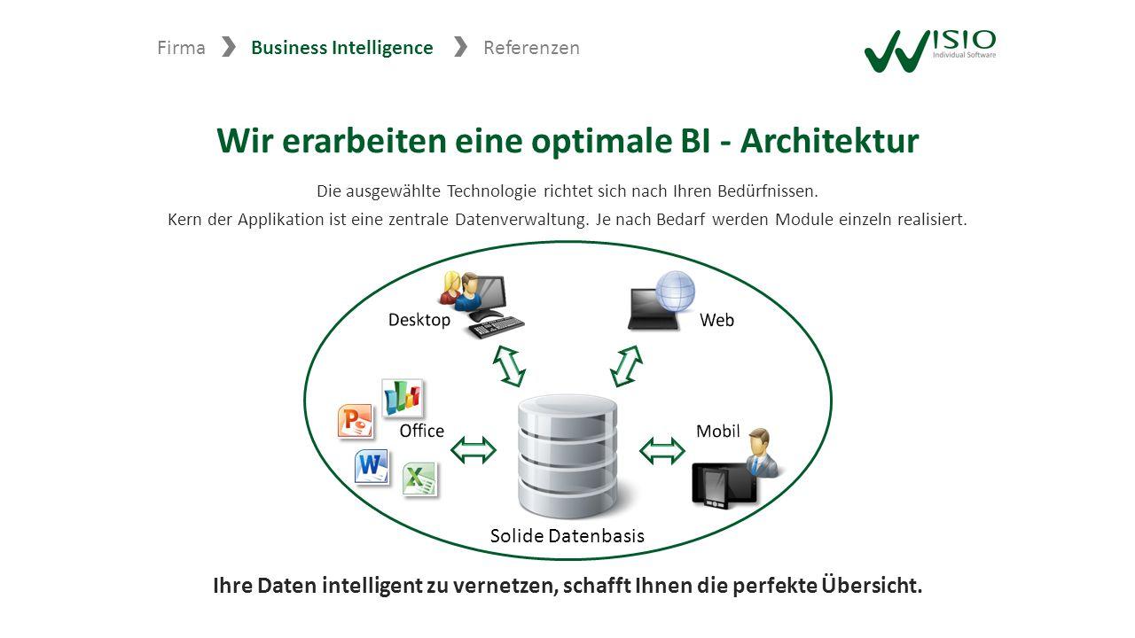Wir erarbeiten eine optimale BI - Architektur Die ausgewählte Technologie richtet sich nach Ihren Bedürfnissen. Kern der Applikation ist eine zentrale