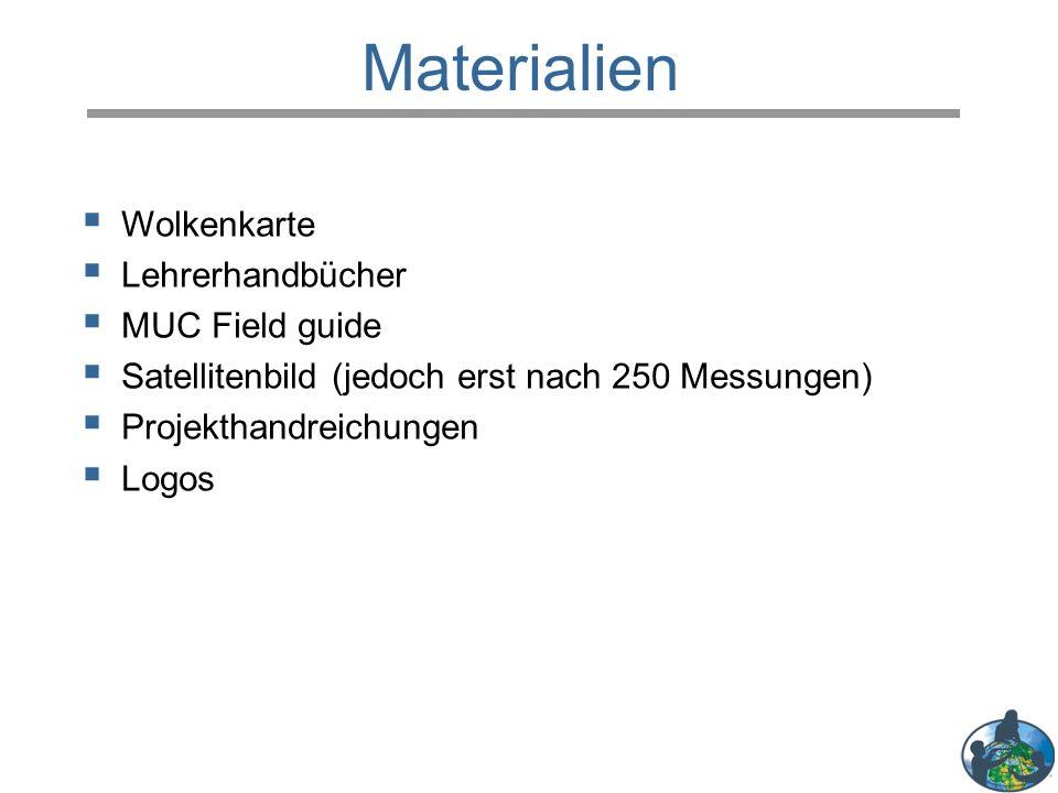  Wolkenkarte  Lehrerhandbücher  MUC Field guide  Satellitenbild (jedoch erst nach 250 Messungen)  Projekthandreichungen  Logos Materialien