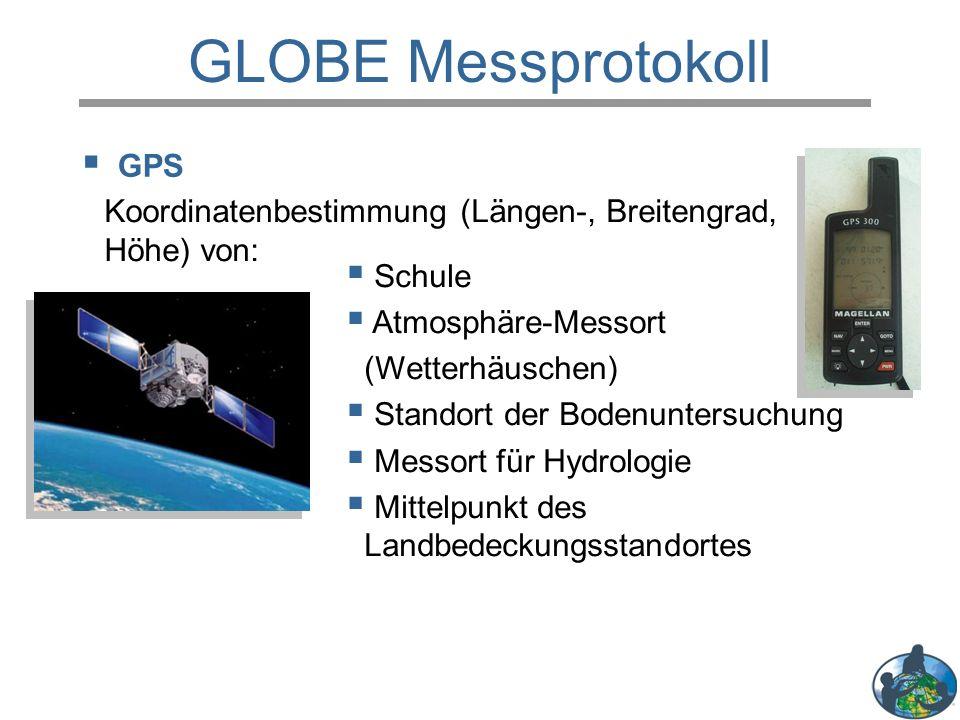  GPS GLOBE Messprotokoll  Schule  Atmosphäre-Messort (Wetterhäuschen)  Standort der Bodenuntersuchung  Messort für Hydrologie  Mittelpunkt des Landbedeckungsstandortes Koordinatenbestimmung (Längen-, Breitengrad, Höhe) von:
