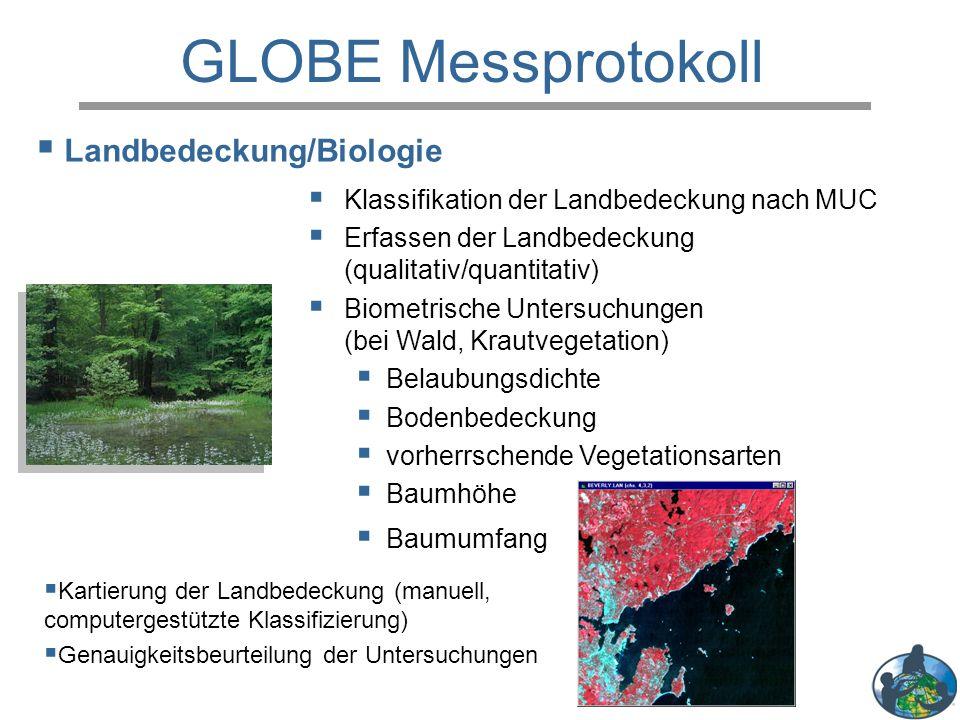 GLOBE Messprotokoll  Klassifikation der Landbedeckung nach MUC  Erfassen der Landbedeckung (qualitativ/quantitativ)  Biometrische Untersuchungen (b