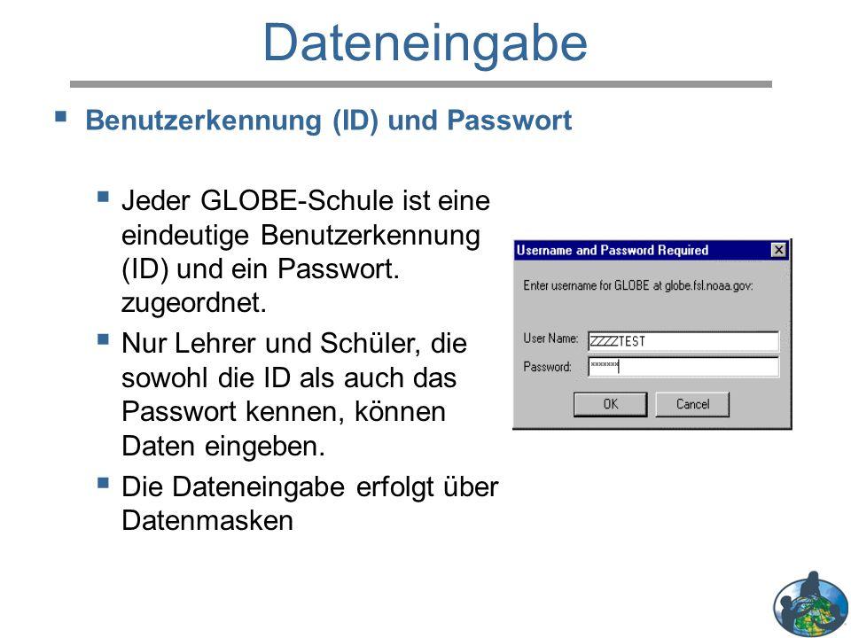Dateneingabe  Jeder GLOBE-Schule ist eine eindeutige Benutzerkennung (ID) und ein Passwort. zugeordnet.  Nur Lehrer und Schüler, die sowohl die ID a