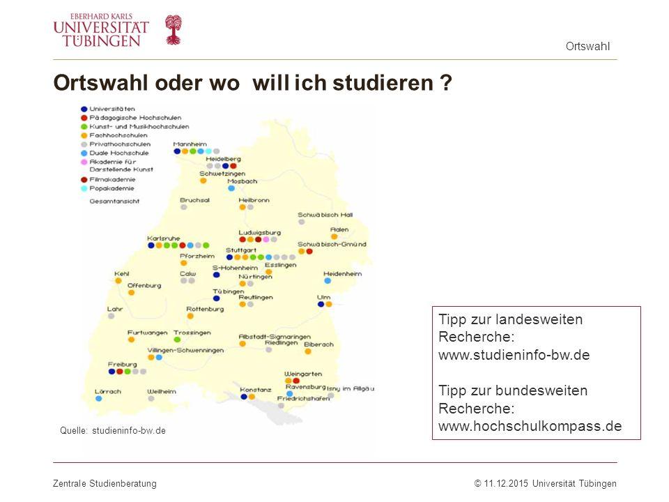 Ortswahl oder wo will ich studieren ? Zentrale Studienberatung© 11.12.2015 Universität Tübingen Tipp zur landesweiten Recherche: www.studieninfo-bw.de