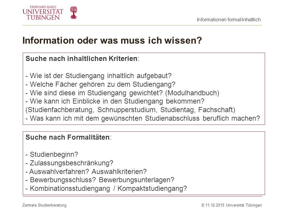 Information oder was muss ich wissen? Zentrale Studienberatung© 11.12.2015 Universität Tübingen Suche nach inhaltlichen Kriterien: - Wie ist der Studi