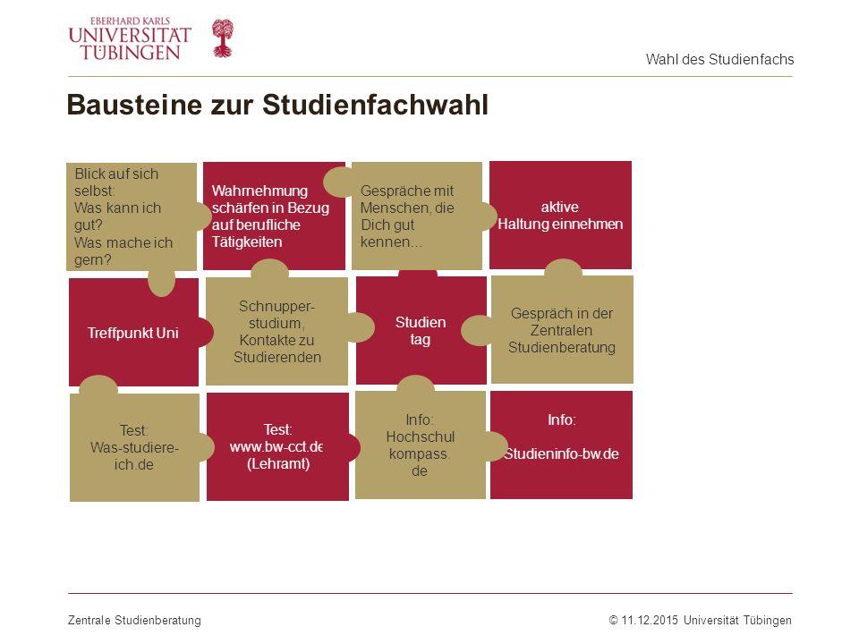 Bausteine zur Studienfachwahl Zentrale Studienberatung© 11.12.2015 Universität Tübingen Test: www.bw-cct.de (Lehramt) Test: Was-studiere- ich.de Wahrn