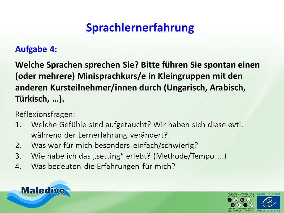 Sprachlernerfahrung Aufgabe 4: Welche Sprachen sprechen Sie? Bitte führen Sie spontan einen (oder mehrere) Minisprachkurs/e in Kleingruppen mit den an