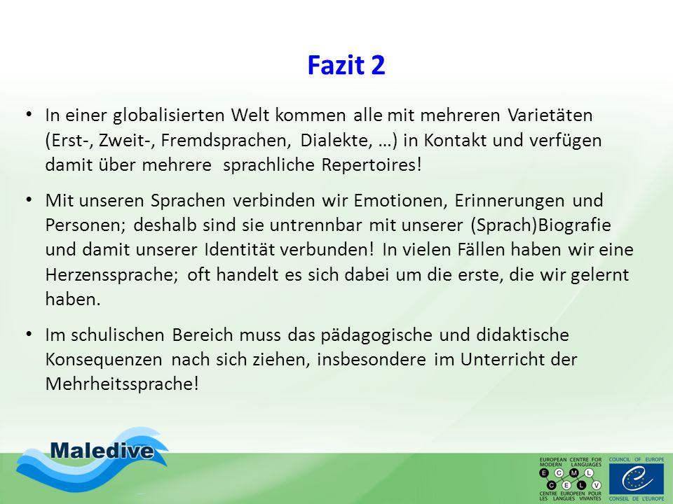 Fazit 2 In einer globalisierten Welt kommen alle mit mehreren Varietäten (Erst-, Zweit-, Fremdsprachen, Dialekte, …) in Kontakt und verfügen damit übe