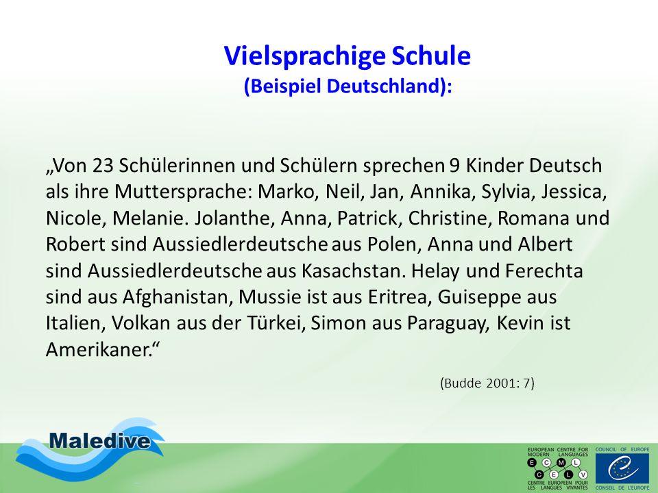"""Vielsprachige Schule (Beispiel Deutschland): """"Von 23 Schülerinnen und Schülern sprechen 9 Kinder Deutsch als ihre Muttersprache: Marko, Neil, Jan, Ann"""