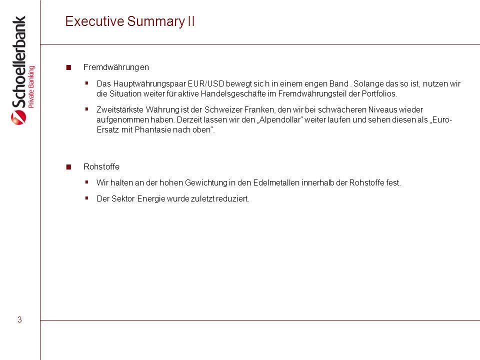 3 Executive Summary II ■ Fremdwährungen  Das Hauptwährungspaar EUR/USD bewegt sic h in einem engen Band.