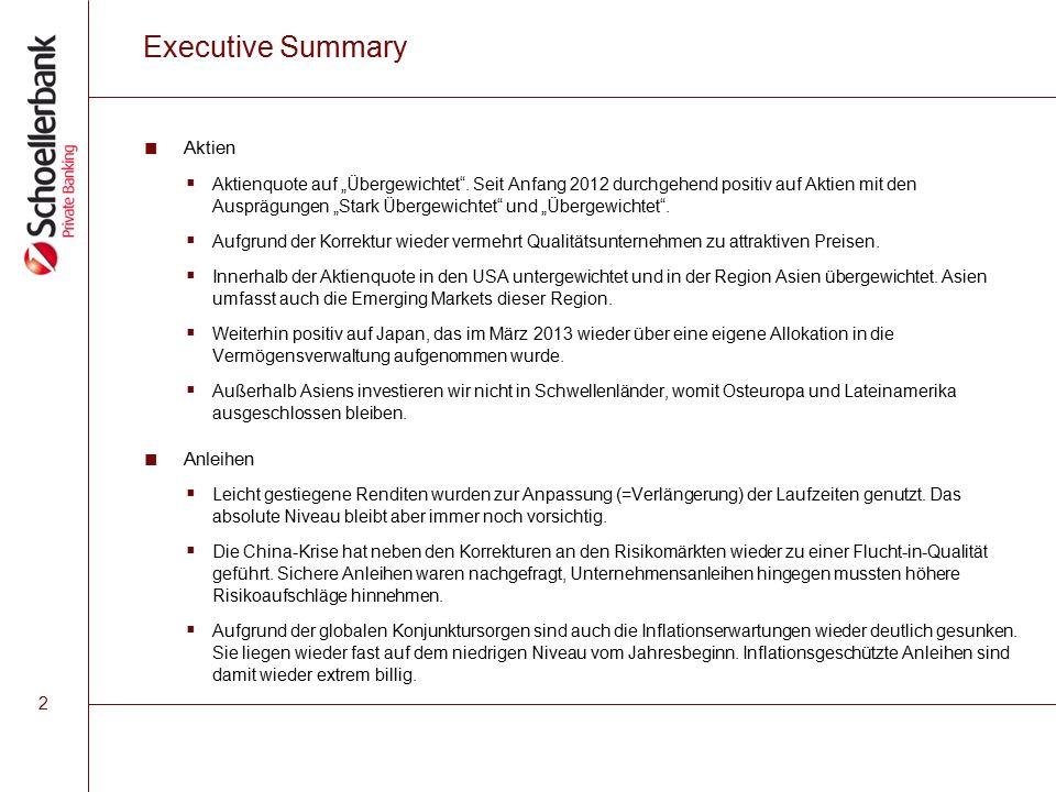 """2 Executive Summary ■ Aktien  Aktienquote auf """"Übergewichtet ."""