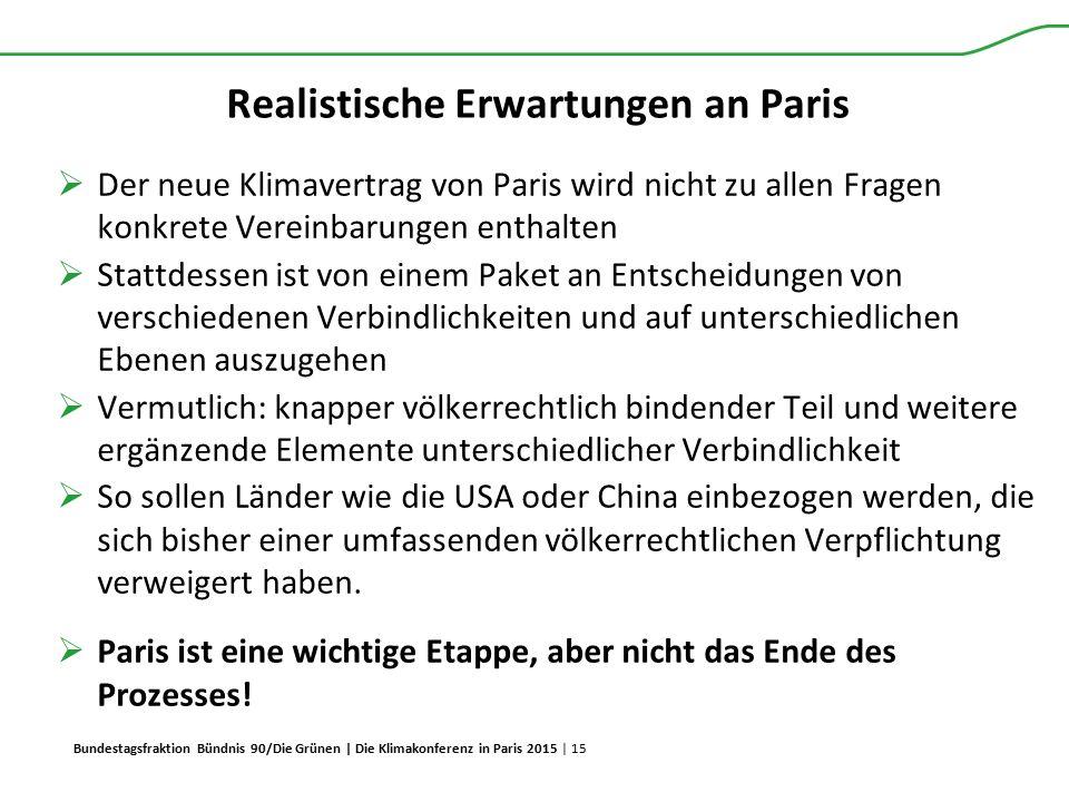 Bundestagsfraktion Bündnis 90/Die Grünen | Die Klimakonferenz in Paris 2015 | 15 Realistische Erwartungen an Paris  Der neue Klimavertrag von Paris w