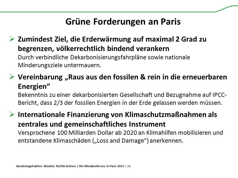 Bundestagsfraktion Bündnis 90/Die Grünen | Die Klimakonferenz in Paris 2015 | 16 Grüne Forderungen an Paris  Zumindest Ziel, die Erderwärmung auf max