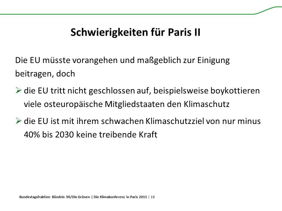Bundestagsfraktion Bündnis 90/Die Grünen | Die Klimakonferenz in Paris 2015 | 19 Schwierigkeiten für Paris II Die EU müsste vorangehen und maßgeblich