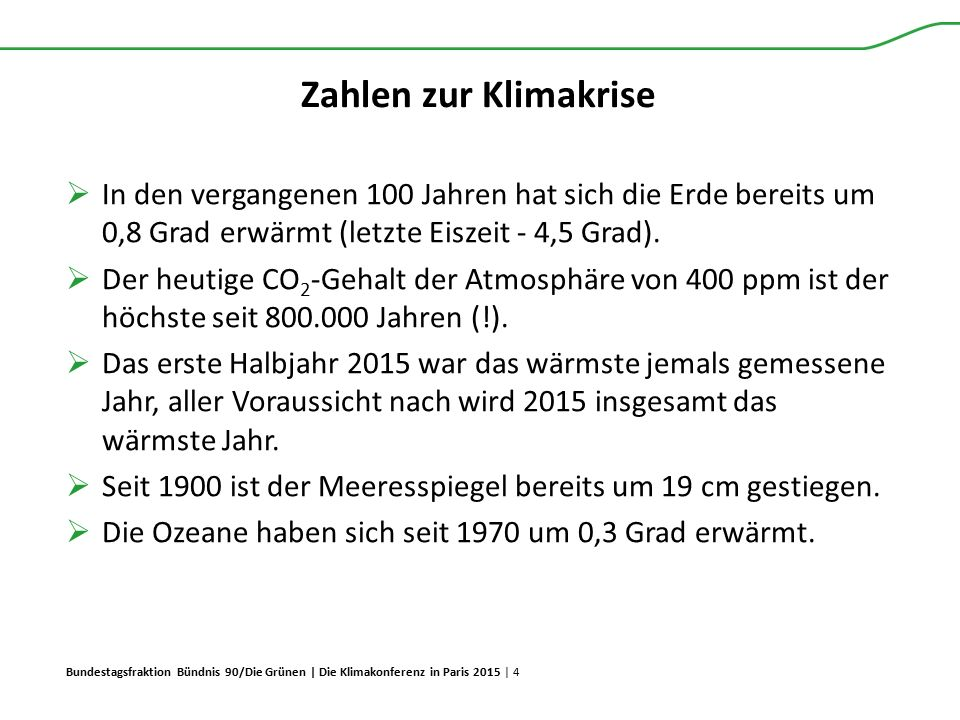 Bundestagsfraktion Bündnis 90/Die Grünen | Die Klimakonferenz in Paris 2015 | 4 Zahlen zur Klimakrise  In den vergangenen 100 Jahren hat sich die Erd