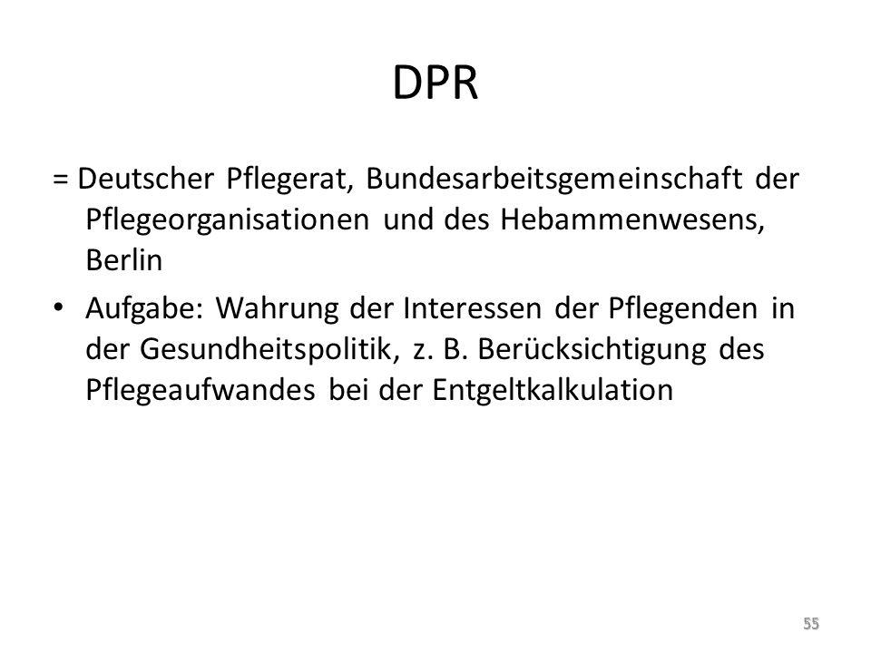 DPR = Deutscher Pflegerat, Bundesarbeitsgemeinschaft der Pflegeorganisationen und des Hebammenwesens, Berlin Aufgabe: Wahrung der Interessen der Pflegenden in der Gesundheitspolitik, z.
