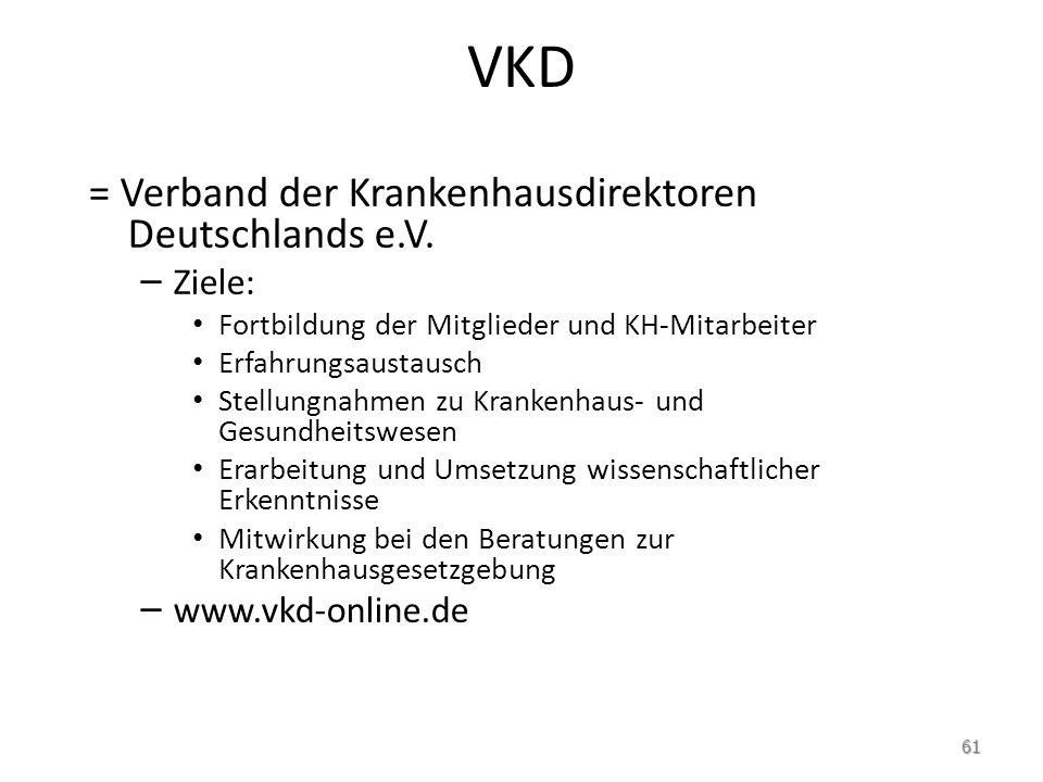 VKD = Verband der Krankenhausdirektoren Deutschlands e.V.