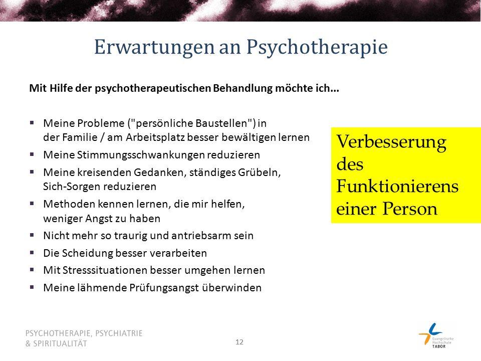 12 Erwartungen an Psychotherapie Mit Hilfe der psychotherapeutischen Behandlung möchte ich...  Meine Probleme (